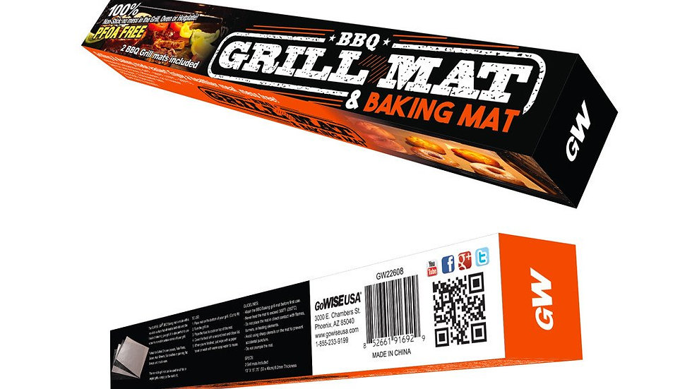 Non-Stick Reusable Grill and Baking Mats, 4-piece set