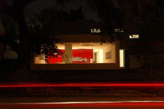 HOUSE 2045 EXTERIOR NIGHT ACROSS STREET