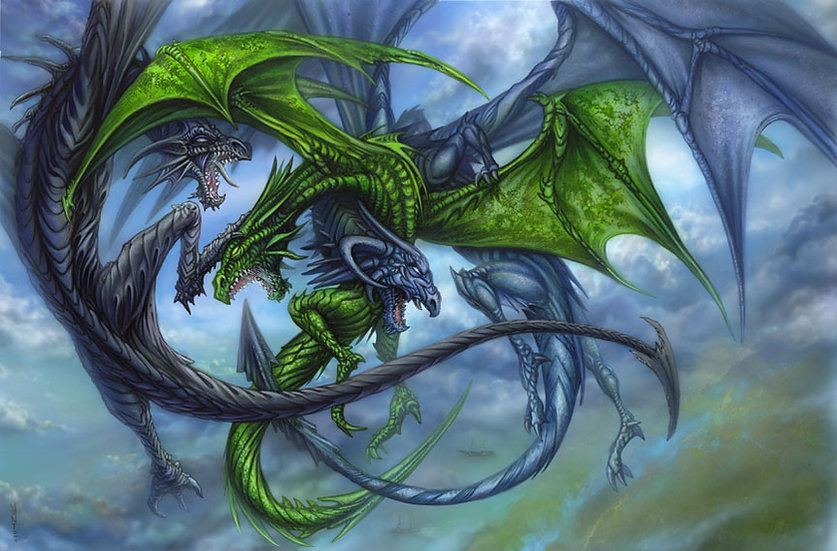 A Duel of Dragons Print