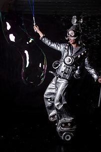 Bubble Man on wheels