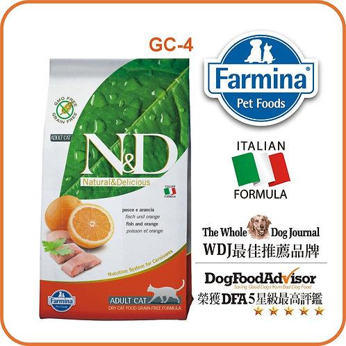 FARMINA N&D無穀物純鯡魚 + 橙 成貓配方