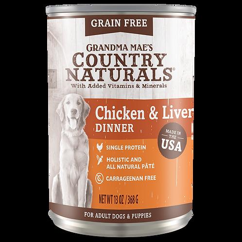 GM Country Naturals 無添加無穀物狗罐(雞+肝)
