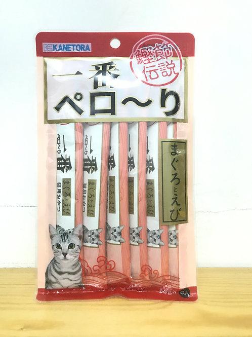 金虎一番  貓奶條-金槍魚+蝦味 1包6枝