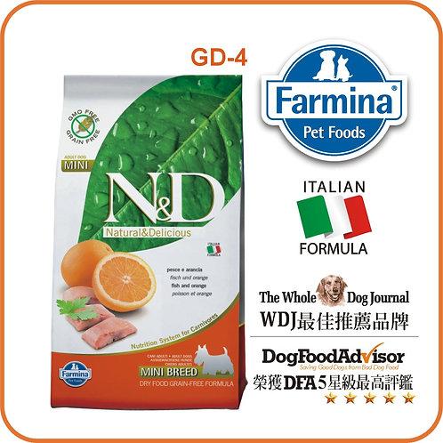 FARMINA N&D 無穀物純鯡魚 + 橙配方(細粒) 成犬糧 7kg