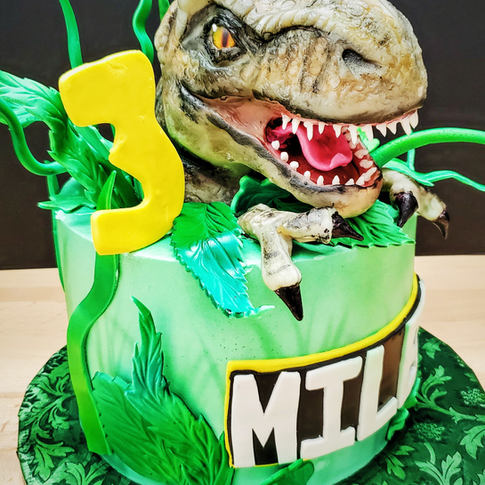 Our popular design of a dinosaur Tyrannosaurus Rex T-rex head popping out of a leafy jungle cake. Perfect for a boys birthday. The head is made of Rice Krispies treats, modeling chocolate, and isomalt eyes. The leaves and name are in fondant.