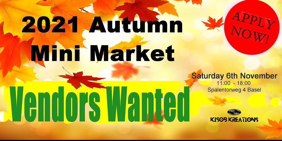 Vendor Application for Autumn Mini Market on the 6th November 2021
