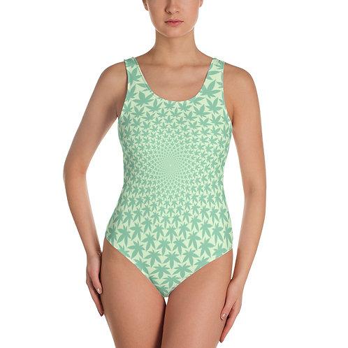 SupaToonz The High Life Ganja Green One-Piece Swimsuit