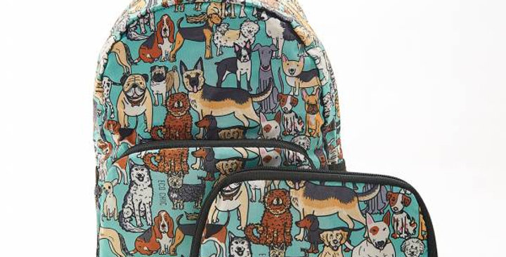 Eco Dogs Teal Backpack - Foldable Eco Chic