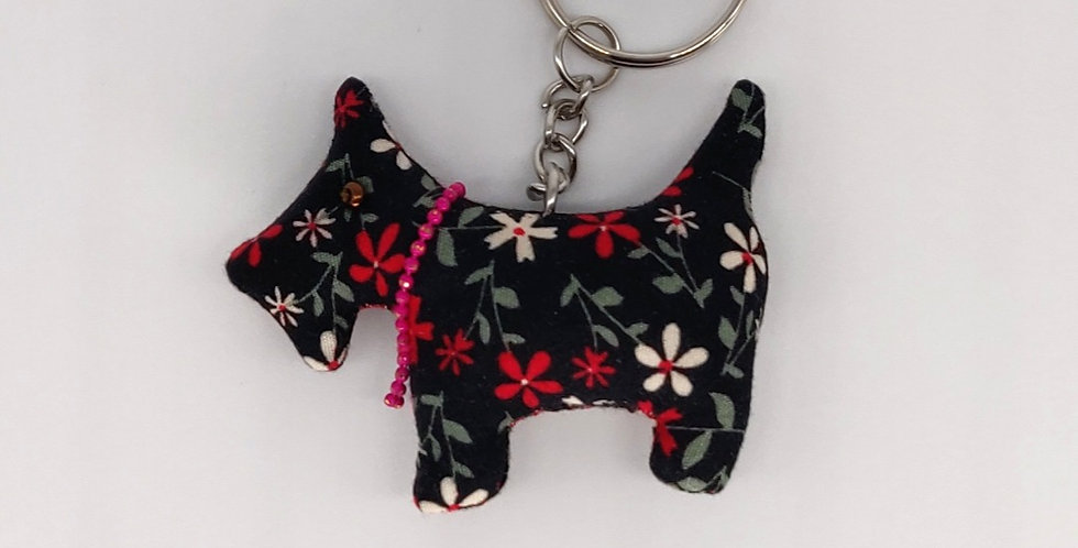 Floral Fabric Scottie Dog Keyring - Black