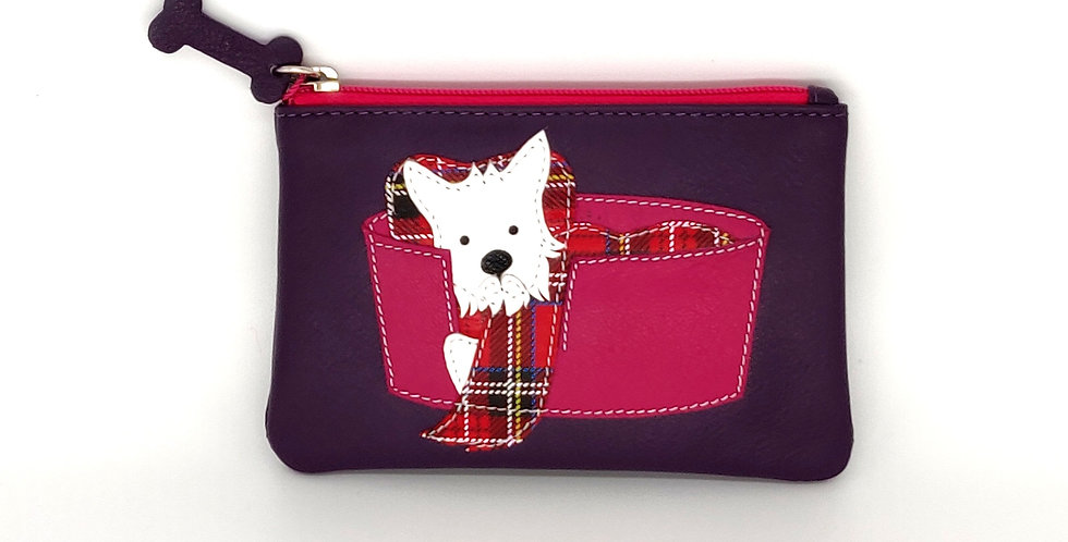 Scottie Dog in a Basket Coin Purse - Purple