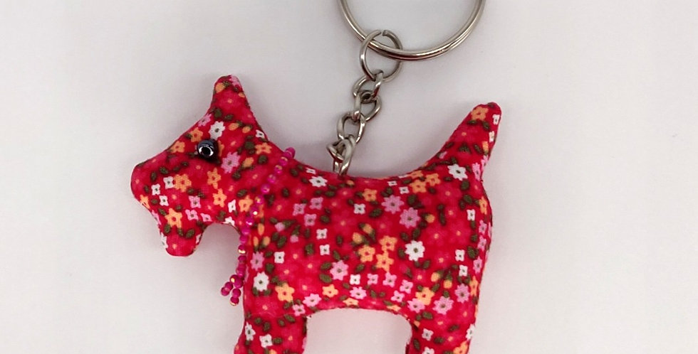 Floral Fabric Scottie Dog Keyring - Red