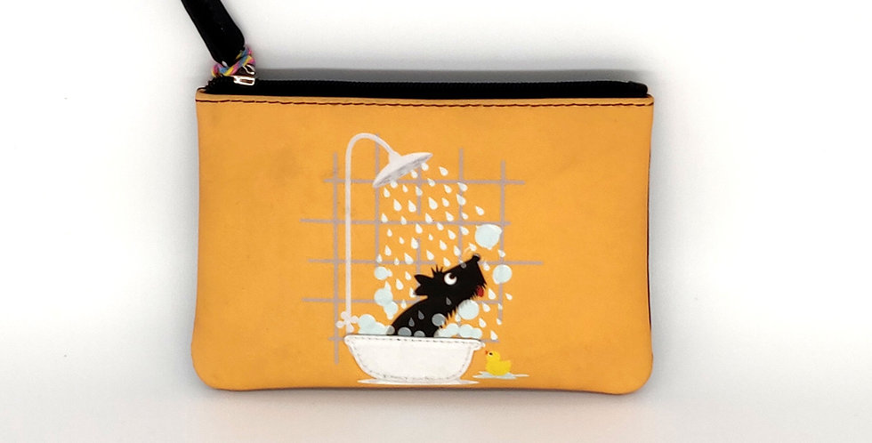 Scottie in the Shower Coin Purse - Yellow