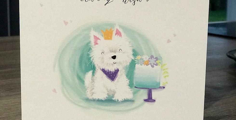 Westie Birthday Wishes Greeting Card