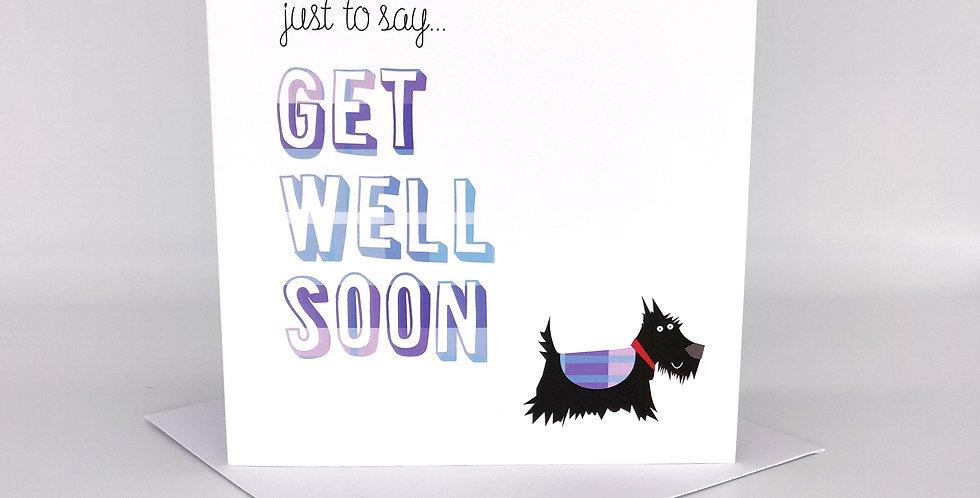 Scottie Dog Greeting Card 'Get Well'- Blank