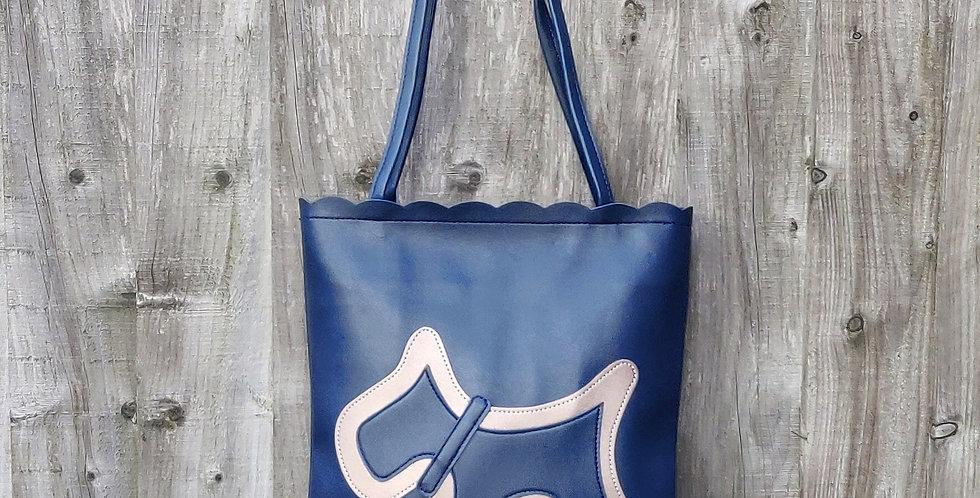 Scottie Dog Two Tone Shoulder Bag - Navy