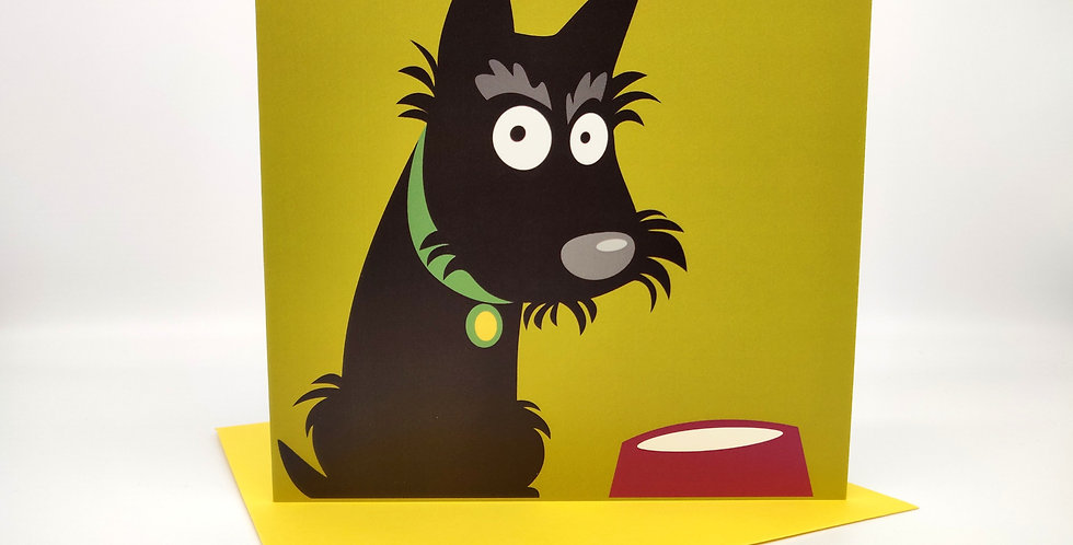 Scottie Dog Greeting Card 'Dinner Time'- Blank