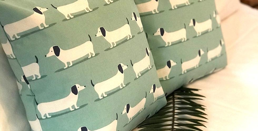 """Dachshund Pale Turquoise Cushion 16"""" x 16"""""""