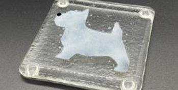 Single Handmade fused glass coaster - Westie