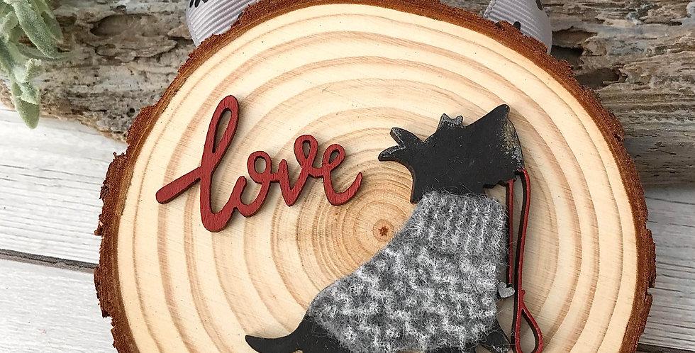 Scottie Dog Log Hanging Decoration - Grey Jumper