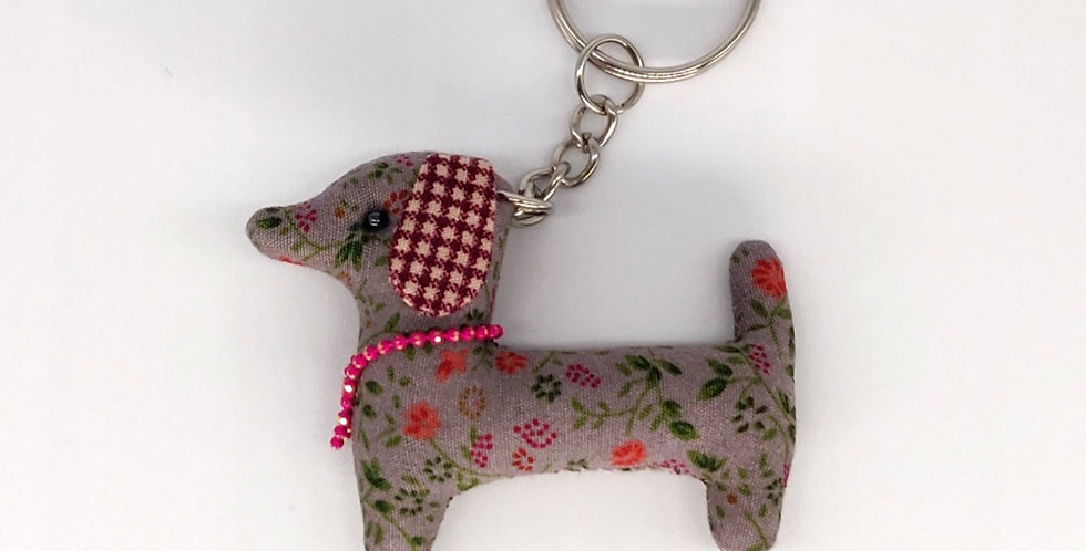 Floral Fabric Dachshund Keyring - Red check