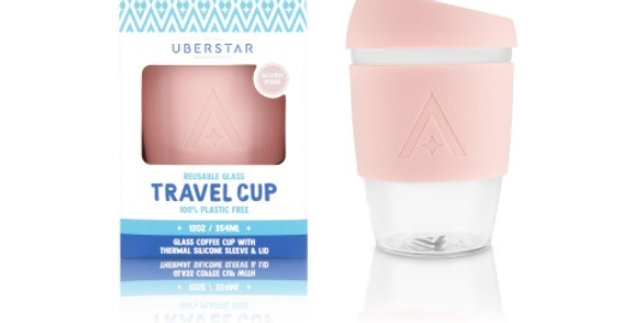 Reusable Glass Travel Coffee Cup - Blush Pink