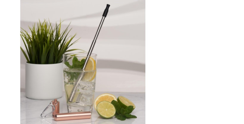 Travel Stainless Steel Straw - Rose Gold