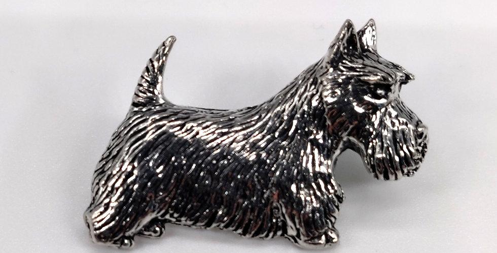 Scottie dog silver pewter pin badge