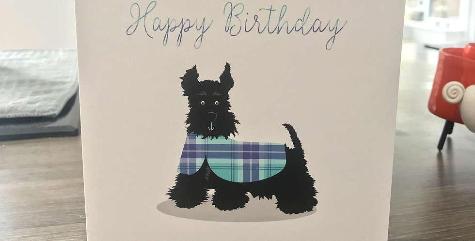 Scottie in a coat Happy Birthday Greeting Card