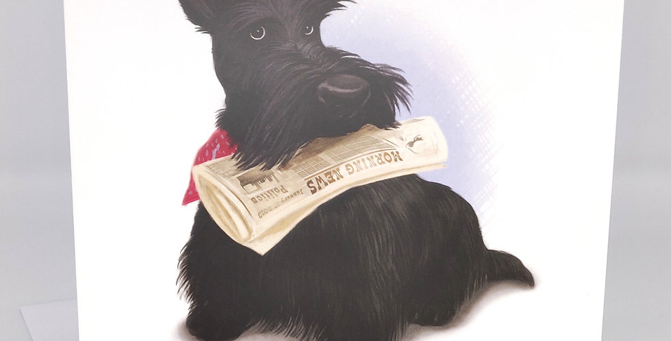 Scottie dog Card Fetch the newspaper - Blank