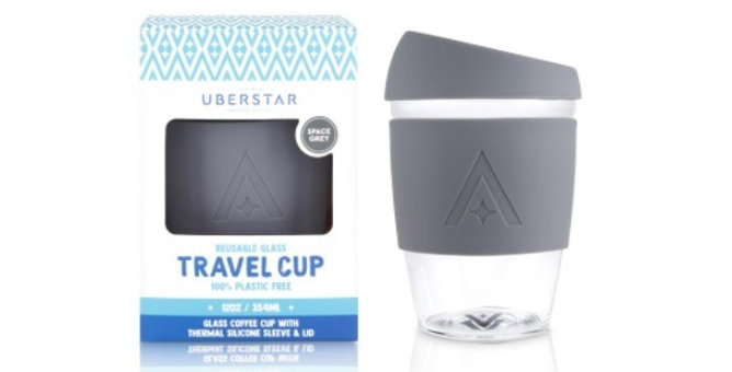 Glass Travel Coffee Cup - Space Grey