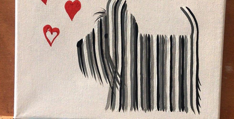 Scottie Dog Hearts Original Painting