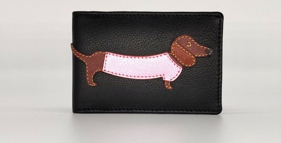 Dachshund ID / Credit Card Holder -Black