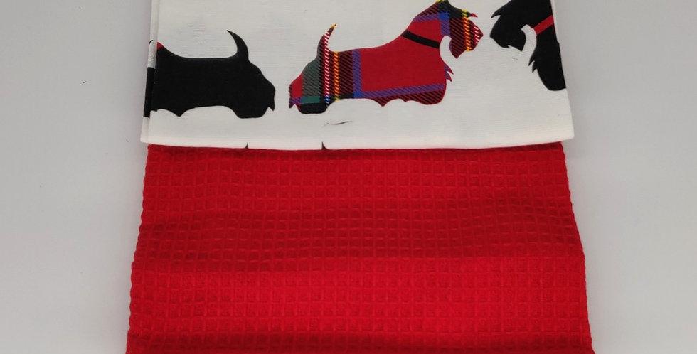 Tea Towel Scottie Dog Twin Pack