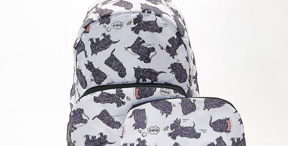 Backpack - Eco Chic Large - Foldable Scatty Scottie White