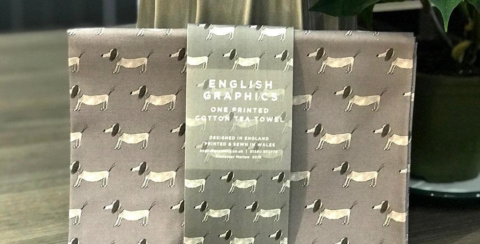 Dachshund Tea Towel - Grey