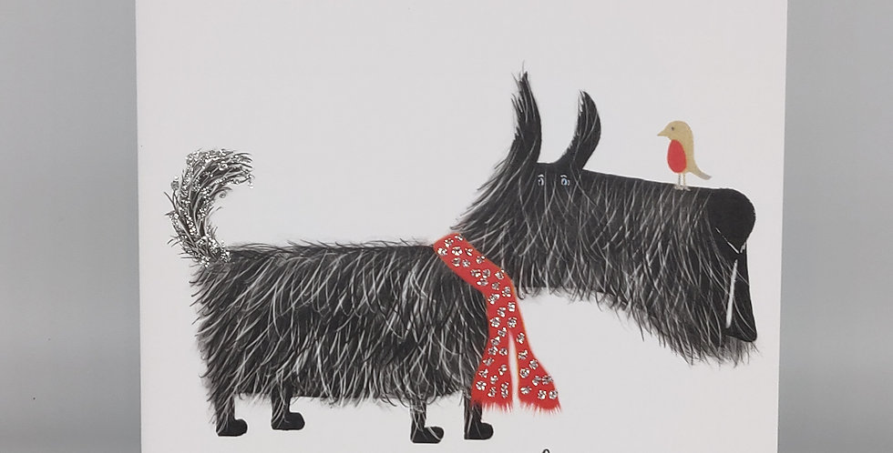 Hairy Scottie Christmas Card