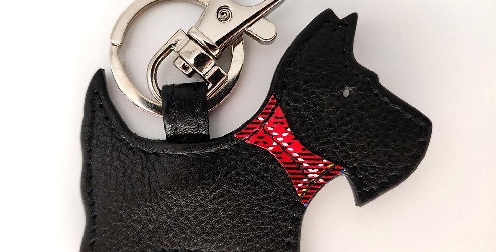 Black Scottie Dog leather Keyring - Boxed