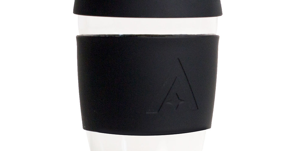 Reusable Glass Travel Coffee Cup - Black