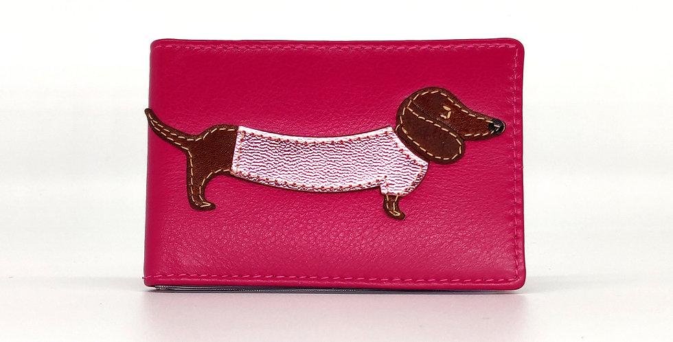 Dachshund ID / Credit Card Holder - Pink