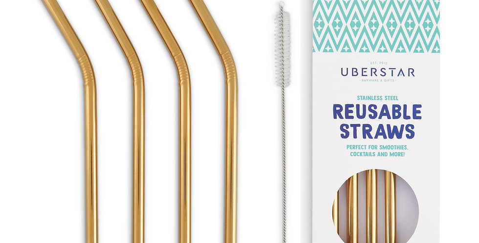 Reusable Straws (4 Wide Straws & Cleaning Brush) - Gold
