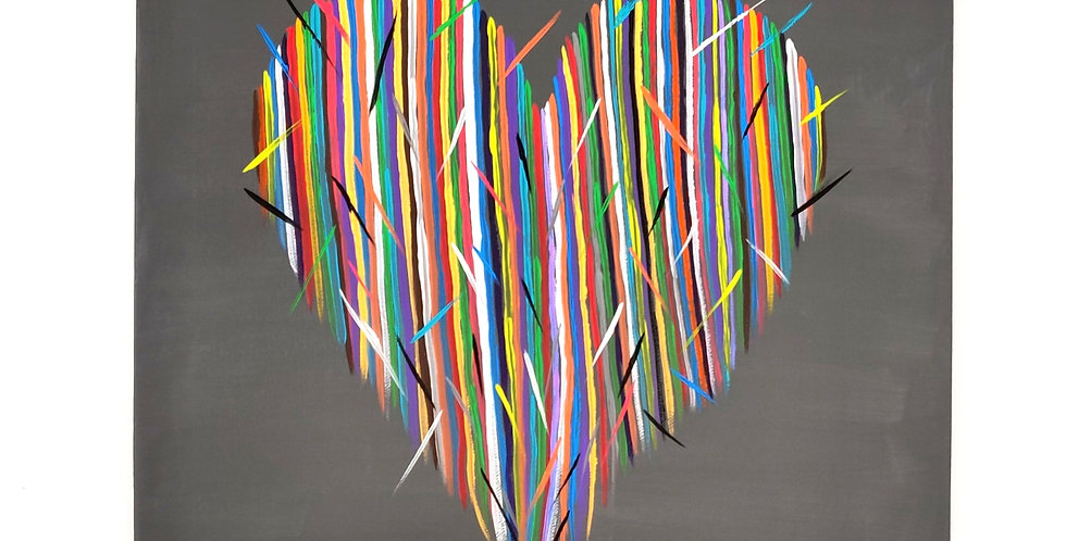 "Original Hector Heart Acrylic Painting 12"" x 12"""