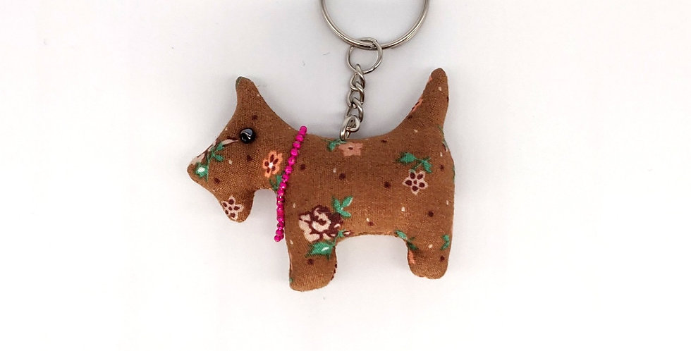 Floral Fabric Scottie Dog Keyring - Tan