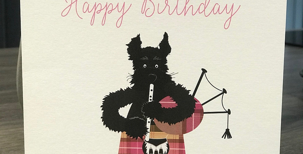 Bagpipes Scottie Birthday Greeting Card