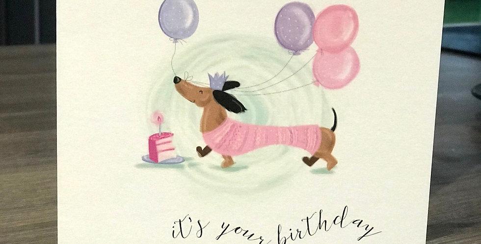 Dachshund Hot Dog Birthday Greeting Card