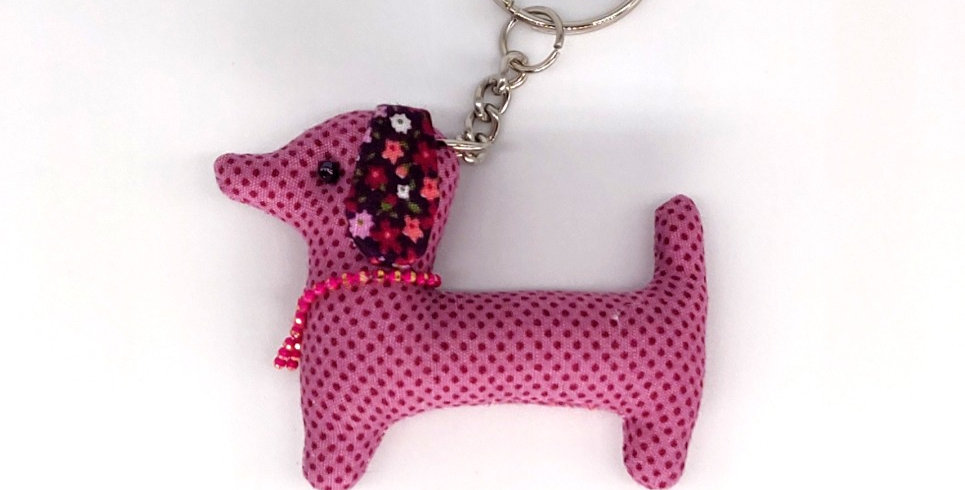 Dotty & Floral Fabric Dachshund Keyring - Pink