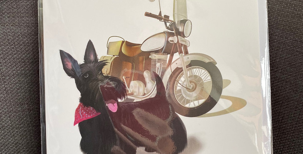 Motorbike Scottie Blank Greeting card