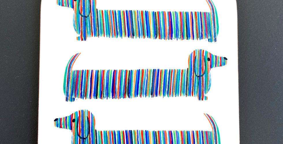 Dachshund Coaster - Multicoloured Original Print