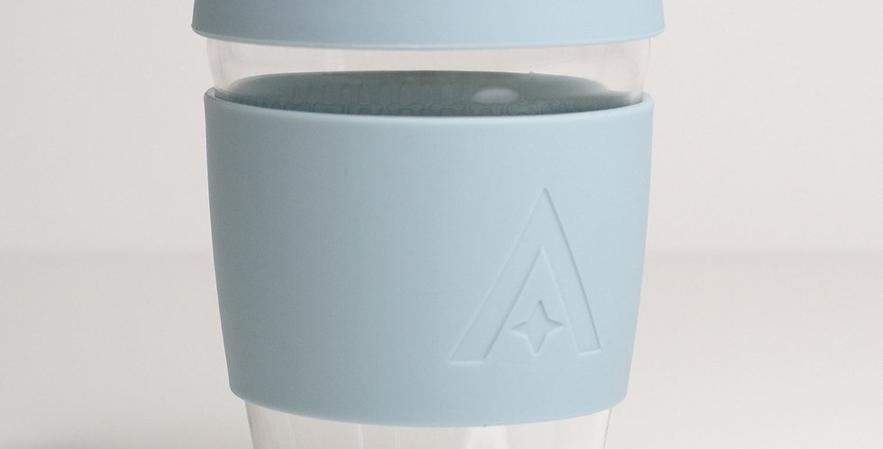 Glass Travel Coffee Cup - Cool Blue