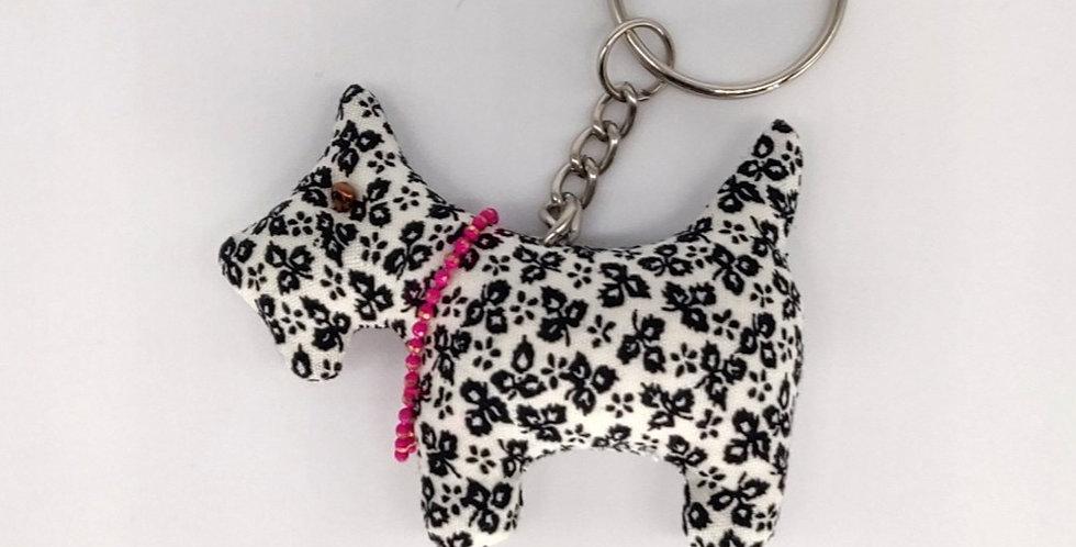 Floral Fabric Scottie Dog Keyring - Black & White