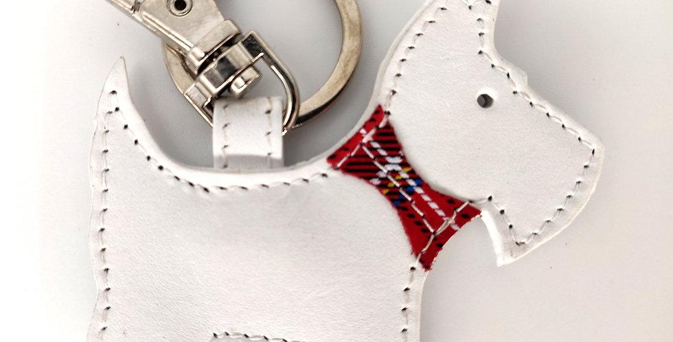 White Scottie Dog leather Keyring - Boxed